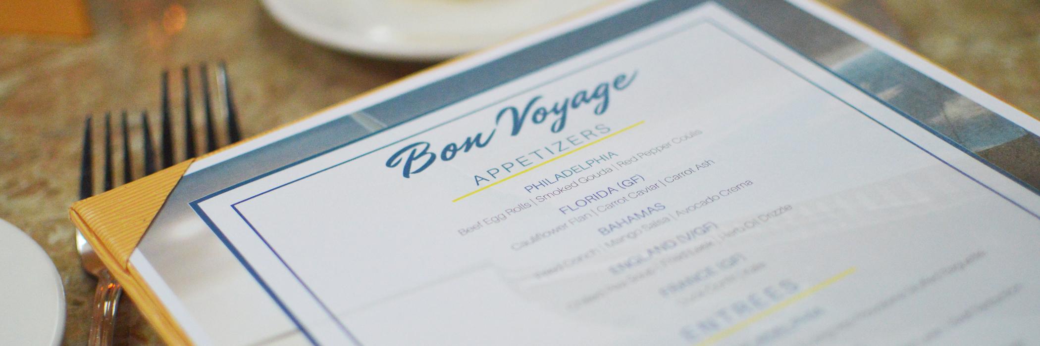 Bon Voyage Menu